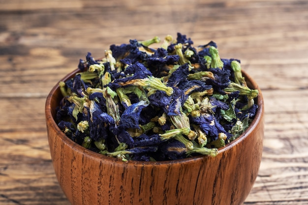 Dry flowers thai blue tea anchan of buds klitoria ternate.