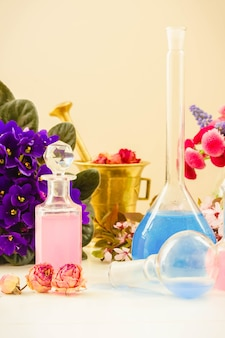 Dry flowers and vials of tincture or oil