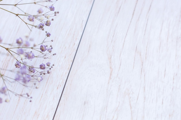 Dry flowers on wooden surface, selective focus, spring mood
