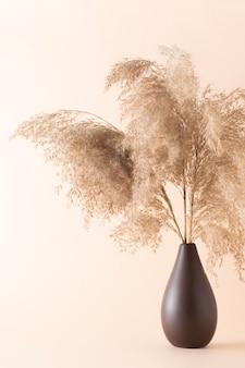 ベージュの背景の花瓶にふわふわのパンパスグラスを乾かします。
