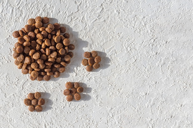 Dry food for dogs and cats in the form of a footprint, paws on a white plaster background