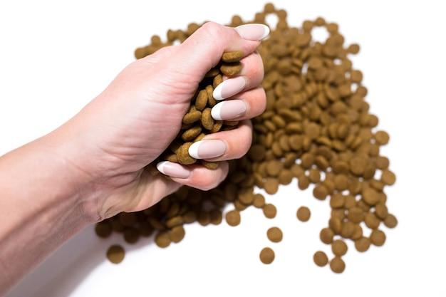白い背景の上の猫と犬のためのドライフード。手が食べ物を注ぎます。高品質の写真