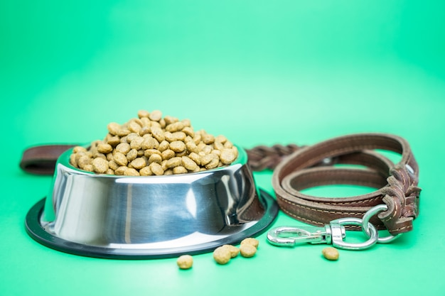 Dry food and pet supplies for dog or cat concept