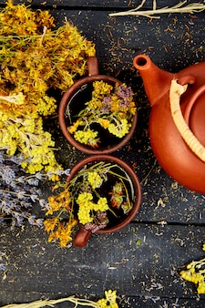 Dry herbs and flowers, herbal medicine. flat lay.