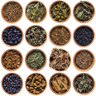 Dry herbs in round bowls. large selection of different herbs