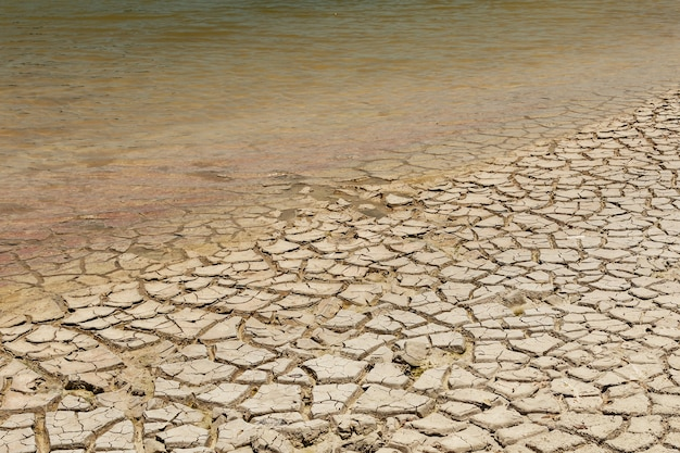 Dry lake bed. drought ground. concept of climate changes and global warming.