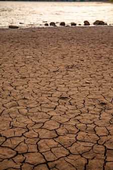 Dry land with no water close up global warming concept