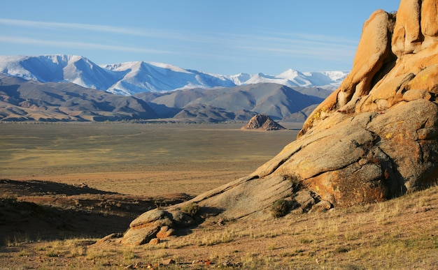 Dry landscapes of mongolia on a sunny day