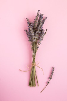 ピンクの背景にラベンダーの花を乾燥させます。場所の垂直。