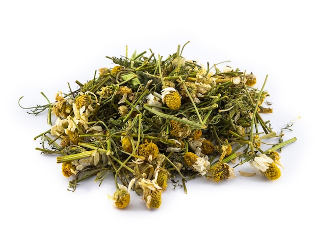 Dry leaves and chamomile flowers on white surface