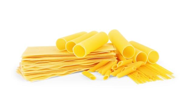 Dry macaroni in various shapes pasta lasagna farfalle spaghetti rigatoni penne