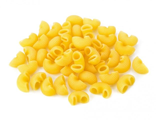 Dry macaroni on white