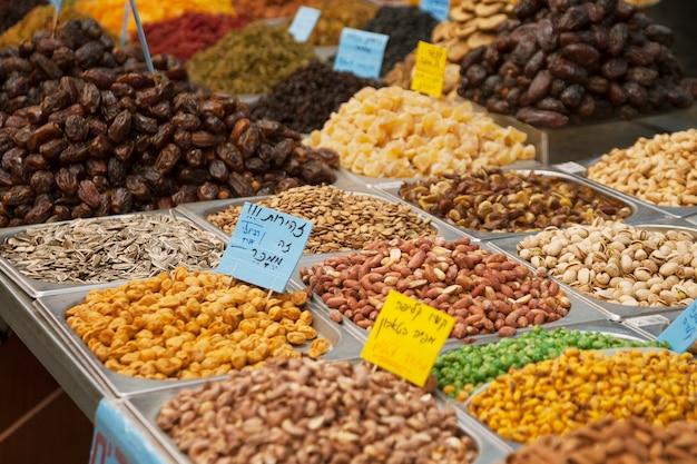 Dry nuts on the market in jerusalem, israel