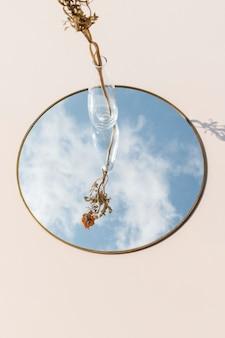 Dry orange ranunculus in a clear vase on a mirror