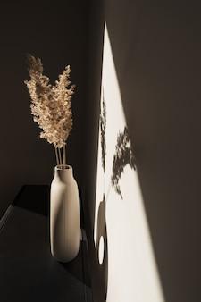 Сухая пампасная трава из тростника в стильной вазе. тени на стене. силуэт в солнечном свете