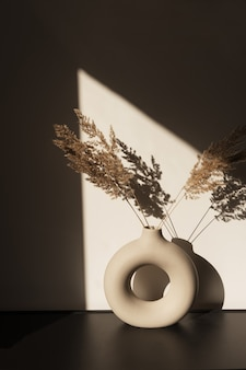 Dry pampas grass  reed in stylish vase. shadows on the wall. silhouette in sun light