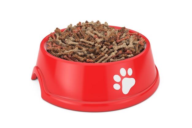 白い背景の上の犬、猫または他のペットのための赤いプラスチック製のボウルでペットフードを乾燥させます。 3dレンダリング