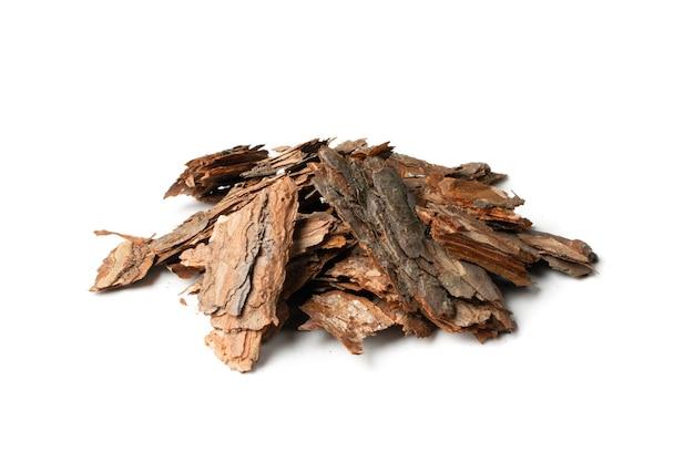 Dry pine tree bark pieces isolated
