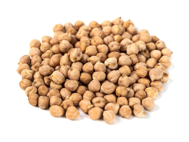 Dry raw organic chickpeas isolated on white, healthy food