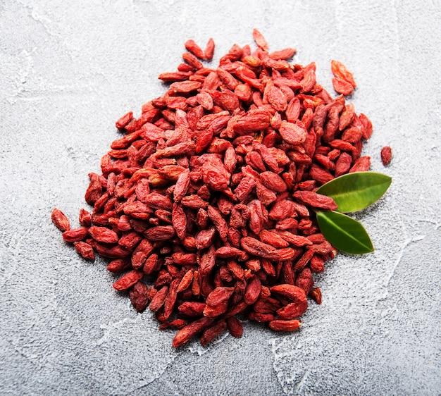 Dry red goji berries