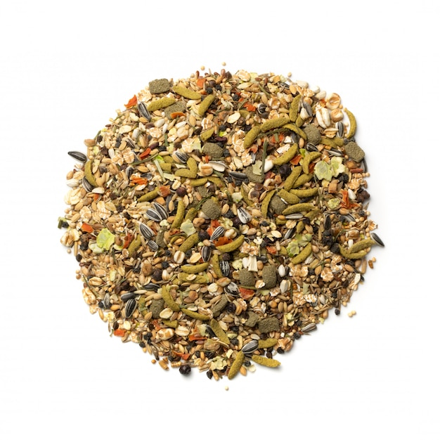Dry rodent food mix for mouse, rabbit or degu isolated