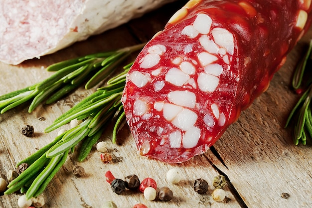 Dry sausage with bacon and rosemary