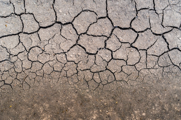 Dry soil after rain is not a long time. top view drought.