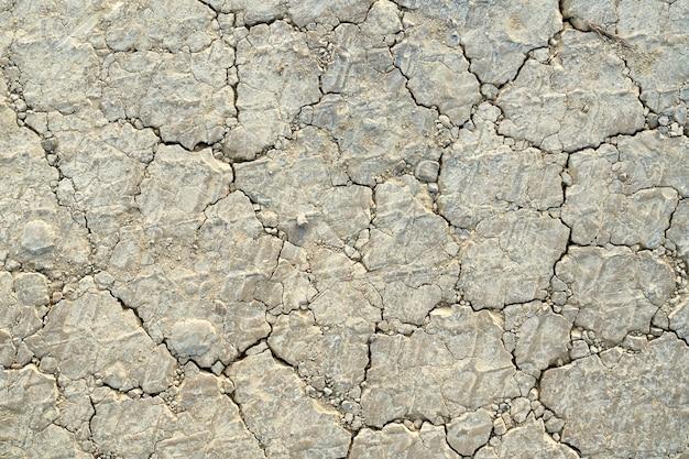 건조 한 토양 배경, 토지 균열 표면 질감. 프리미엄 사진