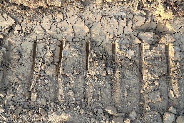 Сухое болото с грязью и следами колеса.