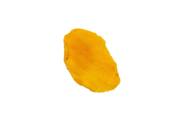 Dry tasty mango slices isolated on a white background. top view.