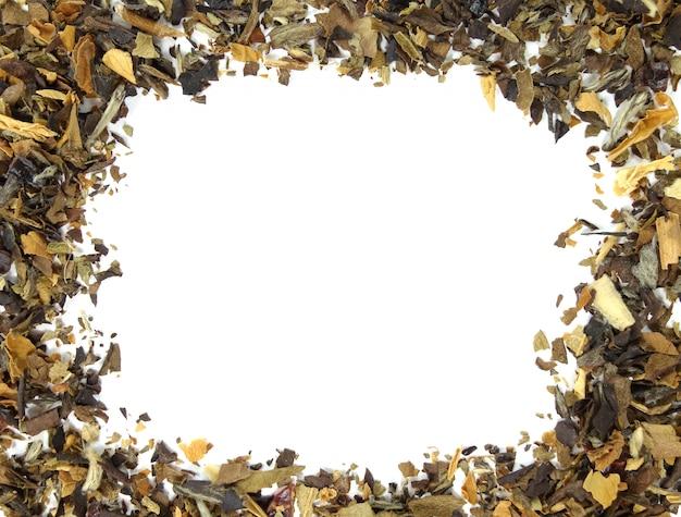 Dry tea leaf background
