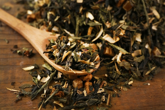 Сухие чайные листья с ложкой на деревянном столе