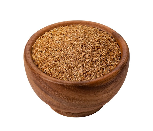 Dry vegetable fiber in bowl isolated