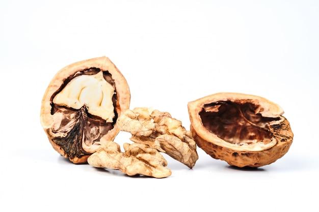 Dry walnut isolated on white background