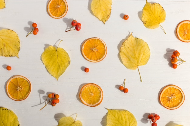 Dry yellow leaves and berries, background, pattern, flat lay.