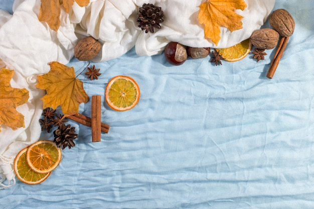 Dry yellow leaves, scarf, spices on the table. autumn mood, copyspace, morning light.