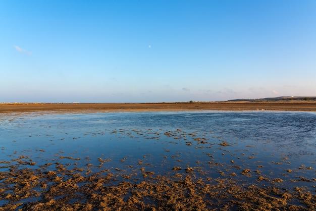 Drying lake at sunset, global warming