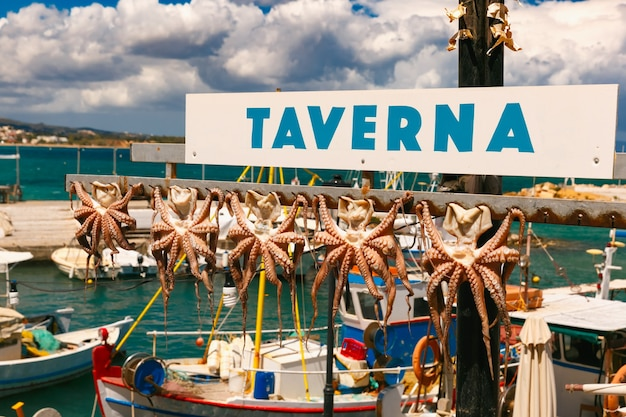 Сушка осьминога в ханье, крит, греция