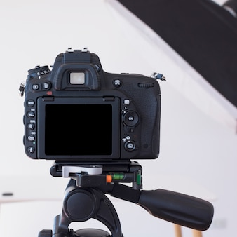 Dslr camera on a tripod in studio