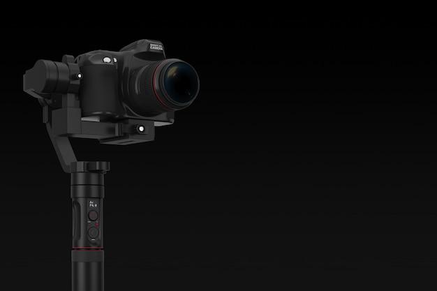 검정색 배경에 dslr 또는 비디오 카메라 짐벌 안정화 삼각대 시스템. 3d 렌더링