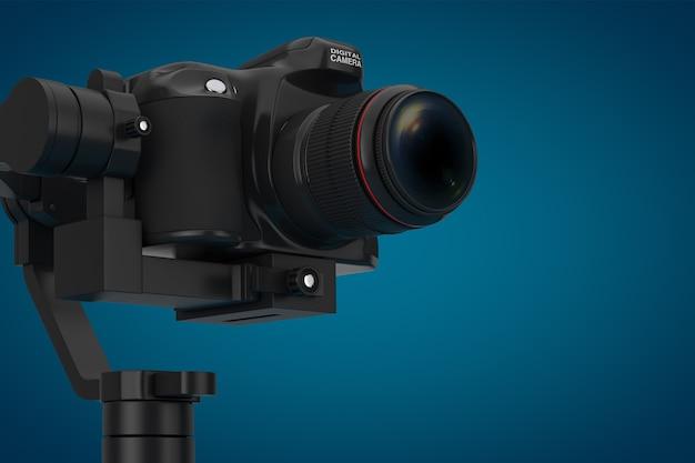 파란색 배경에 dslr 또는 비디오 카메라 짐벌 안정화 삼각대 시스템. 3d 렌더링