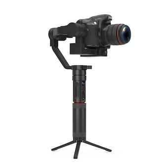 흰색 배경에 dslr 또는 비디오 카메라 짐벌 안정화 삼각대 시스템. 3d 렌더링