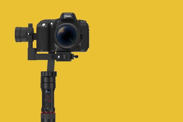 노란색 배경에 dslr 또는 비디오 카메라 짐벌 안정화 삼각대 시스템. 3d 렌더링