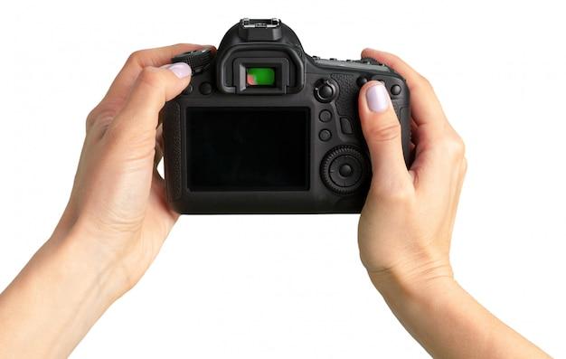 Черная камера dslr изолированная на белизне