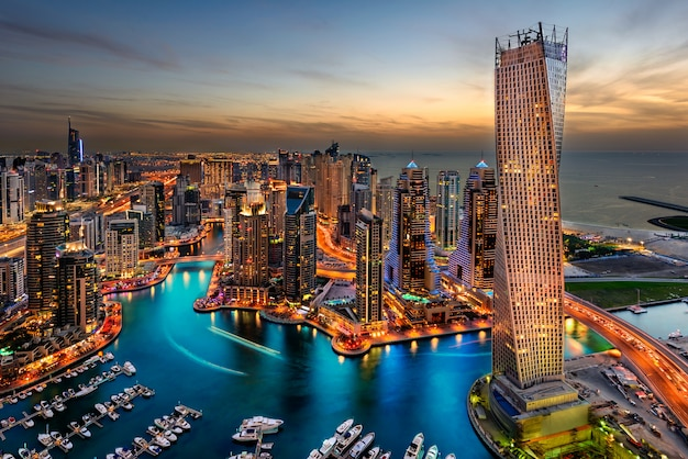 Dubai city overlook cayan tower