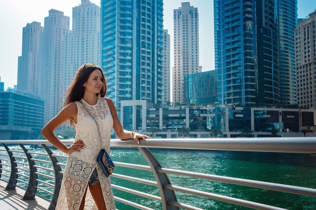 Dubai travel tourist woman on vacation walking
