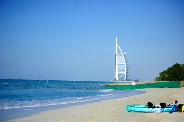 Dubai, uae - april 05: the grand sail shaped burj al arab hotel taken april 5, 2017 in dubai. the hotel is classed as one of the most luxurious in the world and is located on a man made island