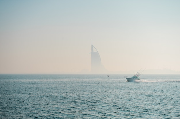 Dubai,uae,december 24 of 2020 foggy picture od burj al arab hotel