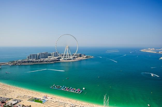 Dubai,uae. december of 25 of 2020 blue water island view,jbr.