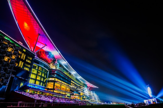 Dubai, uae - mar 28: meydan hotel in dubai, uae, as seen on march 28, 2015. the meydan is the worlds first 5-star trackside hotel with 285 rooms, 2 race tracks and the grandstand.